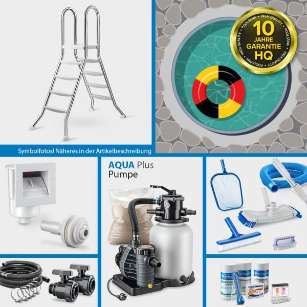 Rundpool PS HQ 5,00 x 1,35 m | Alu-Handlauf | Folie 0,8mm sand PLUS-Set | Freiaufstellung/Teileinbau