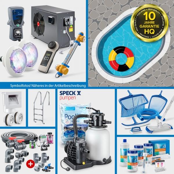 Aluminium-Ovalpool PS HQ 7,00 x 3,50 x 1,50 m mit Alu-Handlauf | Folie blau 0,8mm | PROMO-Set PLATIN
