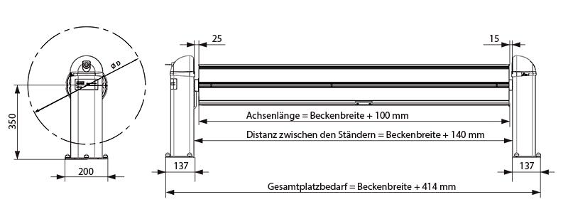 Abmessungen Aufrollvorrichtung elektrisch