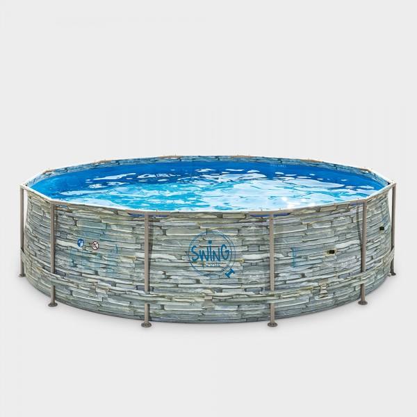Frame Pool POLE STONE Rund 366 x 91 cm