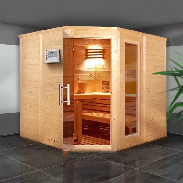 Top-Hit: Sauna Comfort Massiv 45 mm 210 x 210 x 200 cm 5-Eck   Inkl. Glaselement und Bio-Ofen-Set