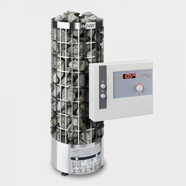 Saunaofen-Set Harvia Cilindro E (offen) 9 kW 400 V + Saunasteuerung POOLSANA L2 Core