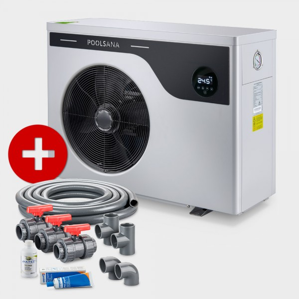 Pool Full-Inverter-Wärmepumpe POOLSANA InverPLUS Performance 9 + Anschluss-Set 50 mm