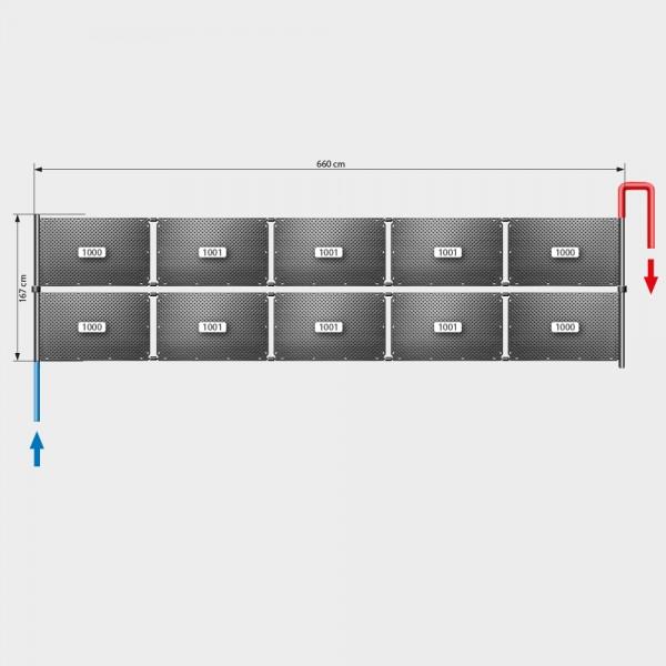 Pool-Solarheizung POOLSANA OKU Set 20a | Flachdachmontage