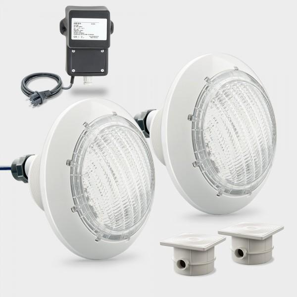 Set 2 x LED Poolscheinwerfer weiß COMPACT POWER