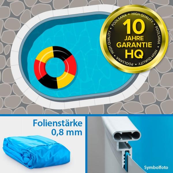 Einzelbecken Ovalpool PS HQ 5,25 x 3,20 x 1,50 m mit Alu-Wand und Alu-Kombihandlauf | Folie blau
