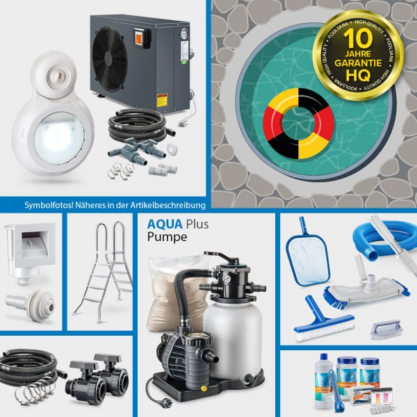 Aluminium-Rundbecken PS HQ 3,50 x 1,20 m 0,8 mm sand PROMO-Set PRIME | Freiaufstellung/Teileinbau