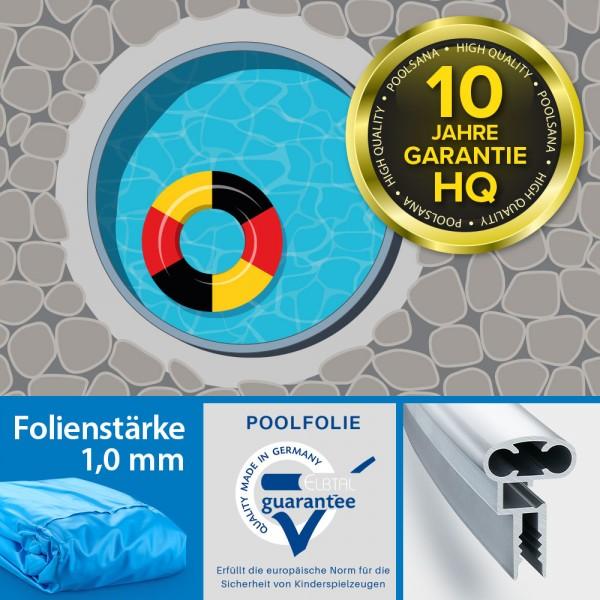 Einzelbecken Stahlwand-Rundpool PS HQ 6,00 x 1,50 m mit Alu-Handlauf | Folie 1,0 mm blau