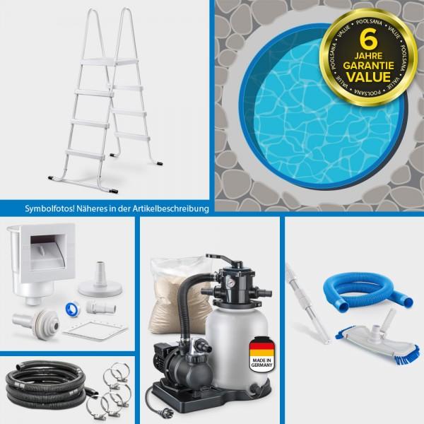Rundpool PS VALUE 3,60x1,35m Folie blau + Handlauf grau ADVANTAGE-Set | Freiaufstellung/Teileinbau
