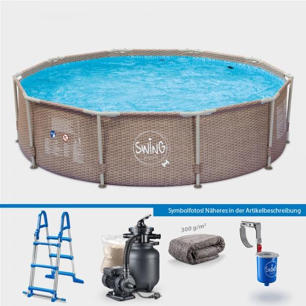 Frame Pool WICKER Rund 366 x 91 cm PROTECT PLUS-Set
