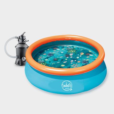 quick up pool set 305 x 76 cm rund 3d mit sandfilter schwimmbecken planschbecken ebay. Black Bedroom Furniture Sets. Home Design Ideas