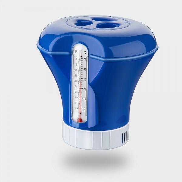 Dosierschwimmer Groß mit Schwimmbadthermometer