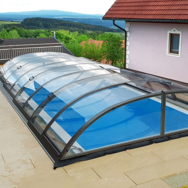 Poolüberdachung POOLSANA PRoof COMPACT CLEAR 2 Anthrazit | 8,64 x 4,40 x 0,77 m
