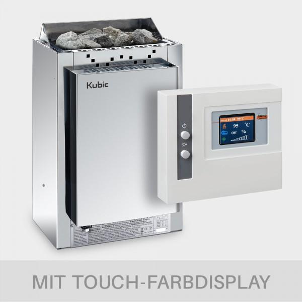 Saunaofen-Set Harvia Kubic Combi 9 kW 400 V + Kombi-Saunasteuerung POOLSANA Clima Lux Touch