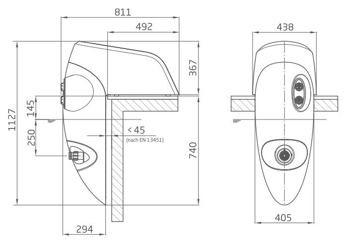 Abmessungen Einhänge-Gegenstromanlage Perla/Riva