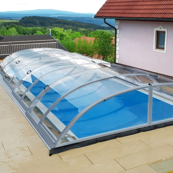 Poolüberdachung POOLSANA PRoof COMPACT CLEAR 1A Elox | 6,52 x 3,80 x 0,73 m