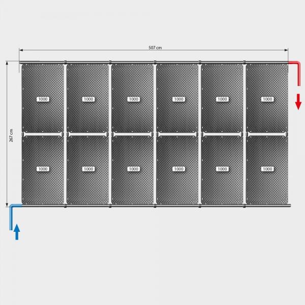 Pool-Solarheizung POOLSANA OKU Set 24a | Flachdachmontage