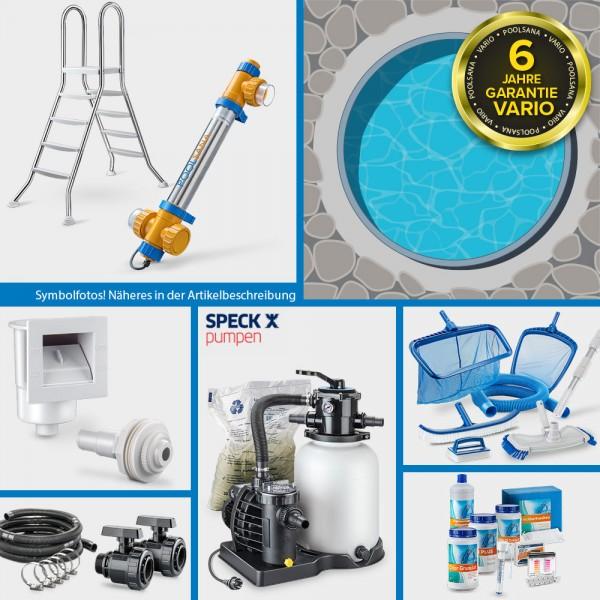 Rundpool PS VARIO 5,00 x 1,20 m Folie blau + Alu Handlauf PROFI-Set | Freiaufstellung/Teileinbau