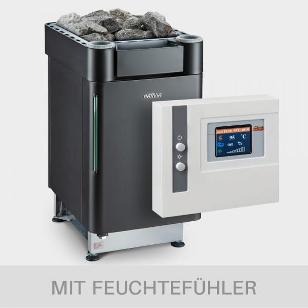 Kombiofen-Set Harvia Senator Combi 9kW 400V BLACK EDITION + Steuerung ClimaLUX Touch + Feuchtefühler