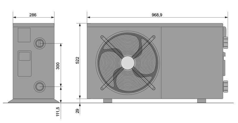 Abmessungen POOLSANA Wärmepumpe Inverter Special