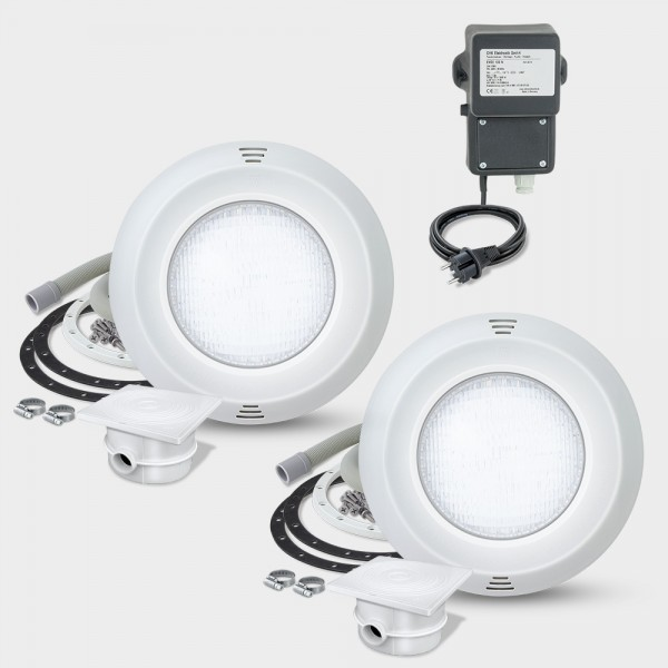 2er-Set LED-UWS POOLSANA PURE PAR56 20W weiß