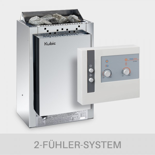 Saunaofen-Set Harvia Kubic Combi 9 kW 400 V + Kombi-Saunasteuerung POOLSANA Cli-Mate