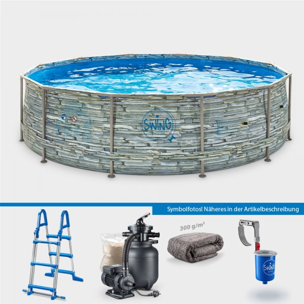 Frame Pool POLE STONE Rund 366 x 91 cm PROTECT PLUS-Set