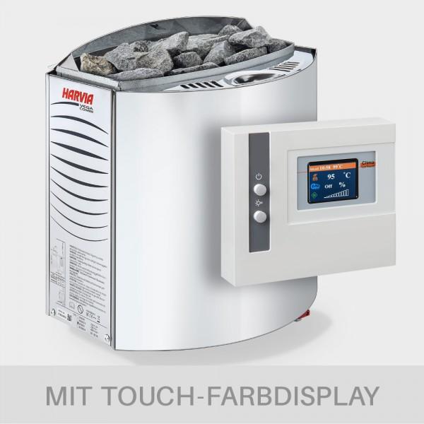 Kombiofen-Set Harvia Vega Combi 9 kW 400 V + Saunasteuerung POOLSANA Clima Lux Touch