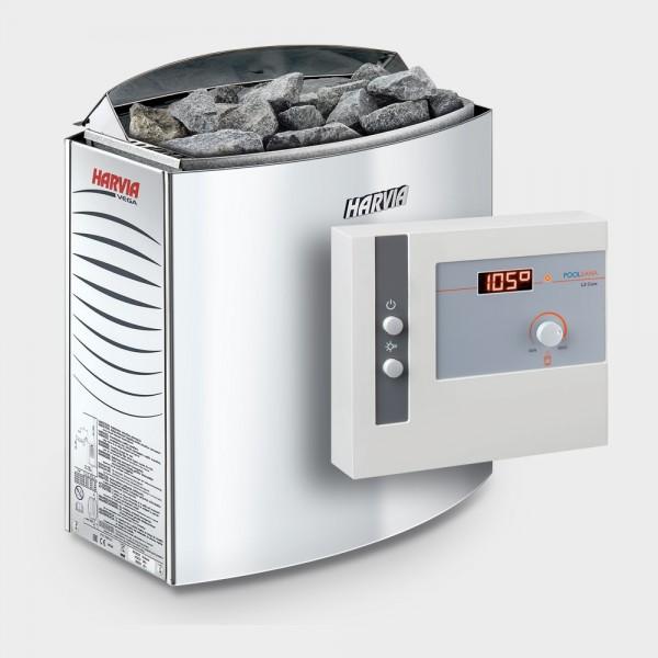 Saunaofen-Set Harvia Vega 6 / 8 / 9 kW 400 V + Saunasteuerung POOLSANA L2 Core