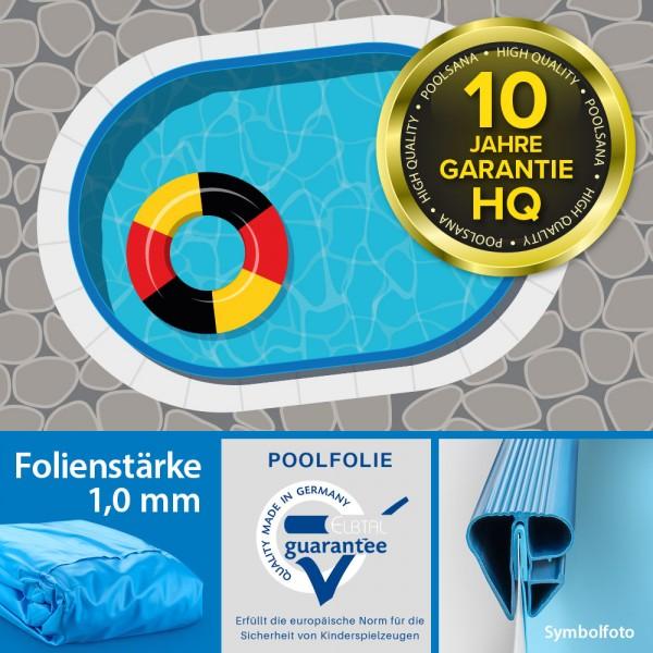 Einzelbecken Stahlwand-Ovalpool POOLSANA HQ 8,00 x 4,00 x 1,50 m   Folie 1,0 mm blau