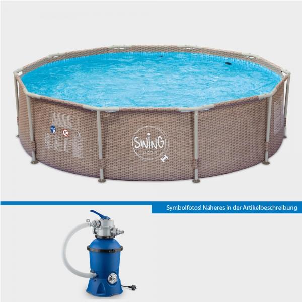 Frame Pool Set POLE Wicker Rund 305 x 76 cm mit Sandfilteranlage PURE Eco