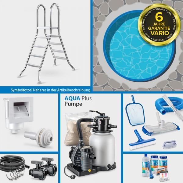 Rundpool PS VARIO 3,60 x 1,20 m Folie + Handlauf blau COMFORT-Set | Freiaufstellung / Teileinbau