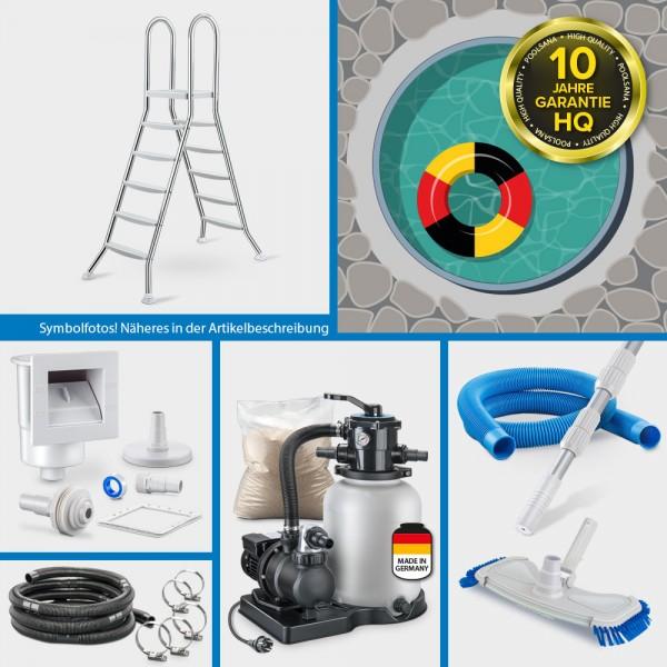 Stahlwand-Rundpool PS HQ 6,00 x 1,50 m Folie 0,8 mm sand PURE-Set | Teileinbau