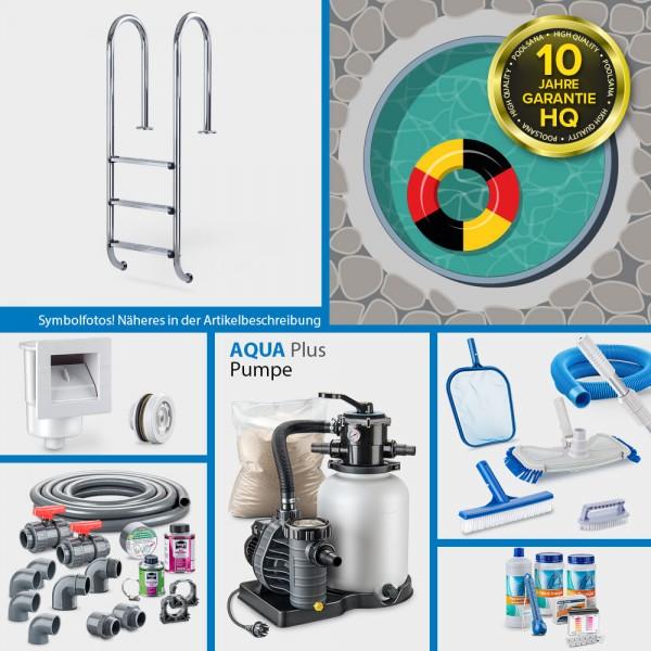 Rundpool PS HQ 3,50 x 1,50 m | Alu-Handlauf | Folie 0,8mm sand PLUS-Set | Teil-/Kompletteinbau