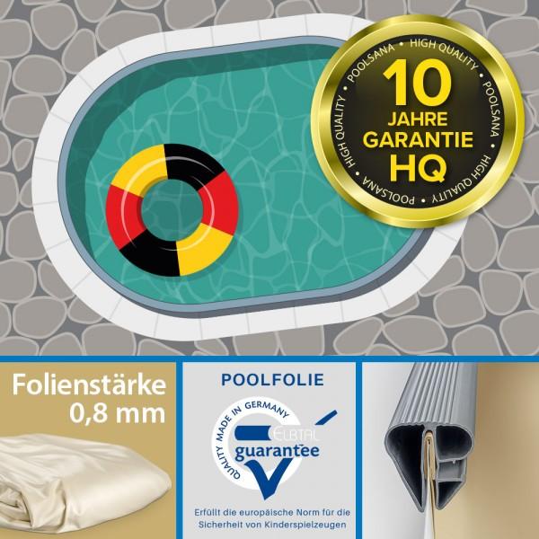 Einzelbecken Stahlwand-Ovalpool PS HQ 8,00 x 4,00 x 1,50 m | Folie 0,8 mm sand
