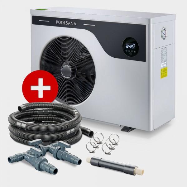 Pool Full-Inverter-Wärmepumpe POOLSANA InverPLUS 13 + Anschluss-Set 38 mm