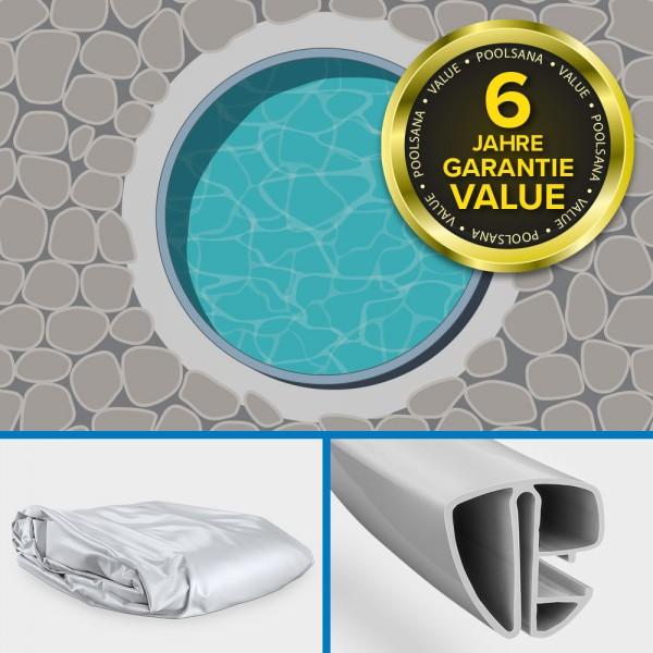 Einzelbecken Stahlwand-Rundpool PS VALUE 3,60 x 1,20 m Stahlwand + Handlauf grau | Folie grau