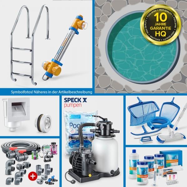 Rundpool PS HQ 4,00 x 1,50 m | Alu-Handlauf | Folie 0,8mm sand PROFI-Set | Teil-/Kompletteinbau