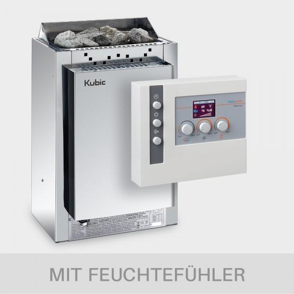 Kombiofen-Set Harvia Kubic Combi 9 kW + Kombi-Saunasteuerung POOLSANA Clima Lux mit Feuchtefühler
