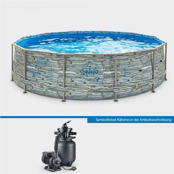 Frame Pool POLE STONE Rund 366 x 91 cm mit Sandfilteranlage Pure 260