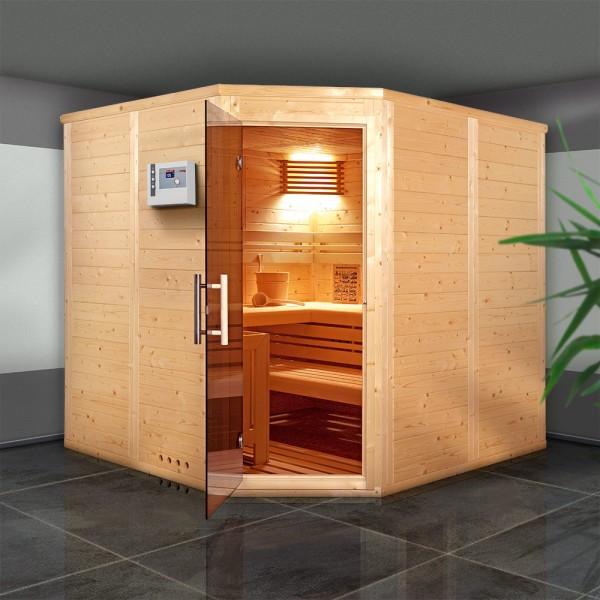 Top-Hit: Massivholzsauna Comfort Massiv 58 mm 210 x 210 x 200 cm 5-Eck