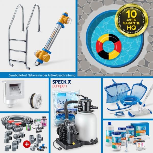 Stahlwand-Rundpool PS HQ 4,00 x 1,20 m Folie 1,0 mm blau PROFI-Set | Teil-/Kompletteinbau