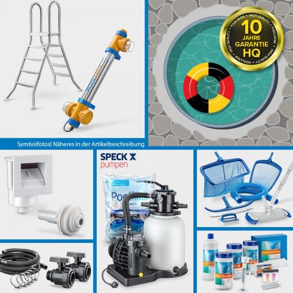 Rundpool PS HQ 3,50 x1,20 m | Alu-Handlauf | Folie 0,8mm sand PROFI-Set | Freiaufstellung/Teileinbau