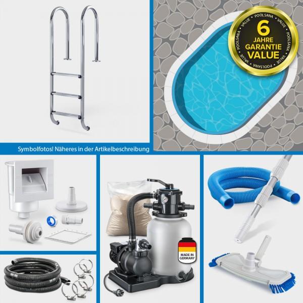Stahlwand-Ovalpool PS VALUE 5,25 x 3,20 x 1,20 m Folie + Handlauf blau PURE-Set