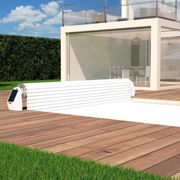 Rollladenabdeckung POOLSANA Propulsion and Protect mit solarbetriebenem Aufroller