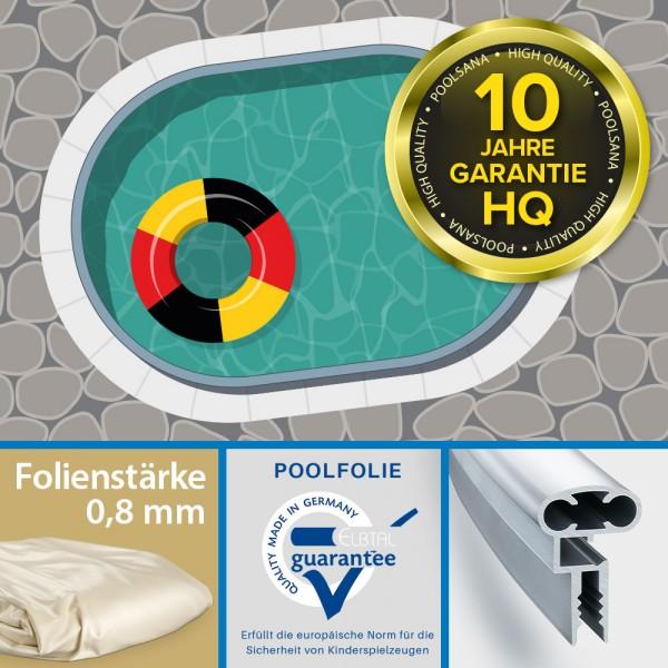 Einzel-Ovalpool POOLSANA HQ 4,90 x 3,00 x 1,35 m mit Aluminium Kombi-Handlauf + sandfarbener Folie