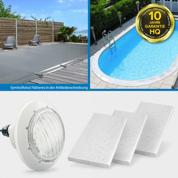 "conZero Stahlwand-Ovalpool POOLSANA HQ 7,00 x 3,50 x 1,50 m PROMO-Set ""Safe and Style"""
