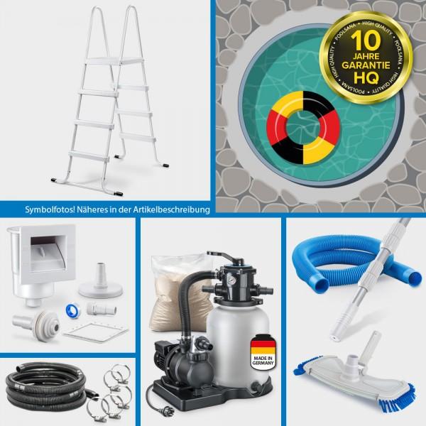 Rundpool PS HQ 3,50 x1,35m | Alu-Handlauf | Folie 0,8mm sand PURE-Set | Freiaufstellung/Teileinbau