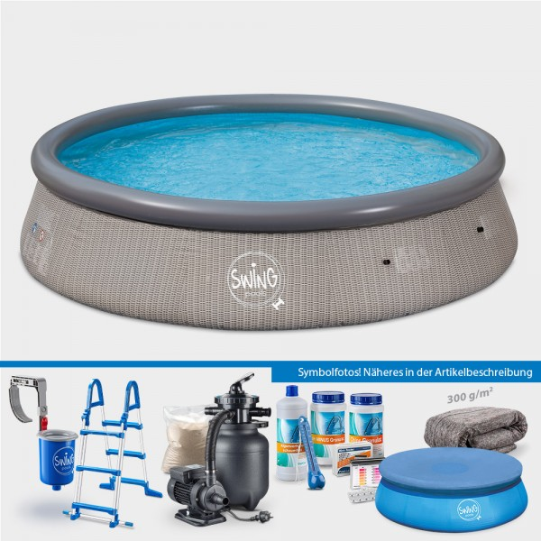 Quick-Up-Pool PRONTO Wicker 366 x 91 cm PROTECT PLUS-Set