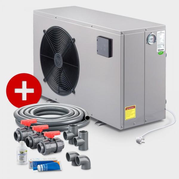 Poolheizung Wärmepumpe POOLSANA PROMO NEXT 8 + Anschluss-Set 50 mm